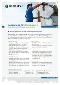 """Das Bild zeigt das Produktblatt """"Ausschreibung und Vergabe von Reinigungsdienstleistungen"""" mit allen Informationen auf einer Seite."""
