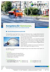 """Das Bild zeigt das Produktblatt """"Ausschreibung und Vergabe von Kommunaltechnik"""" mit allen Informationen auf einer Seite."""
