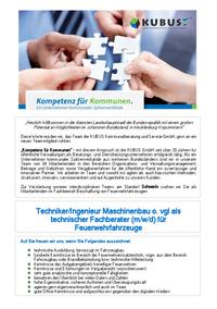 Jetzt als Techniker / Ingenieur Maschinenbau o. Fahrzeugbau o. vgl. (m/w/d) bewerben!