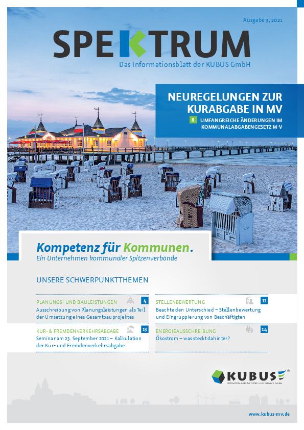"""Hier sehen Sie das Kundenmagazin der KUBUS """"Spektrum"""" mit einer Seebrücke und der Ostsee als Symbol für das Titelthema Kurabgaben."""