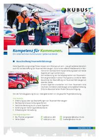"""Das Bild zeigt das Produktblatt """"Feuerwehrausschreibung"""" mit allen Informationen auf einer Seite."""
