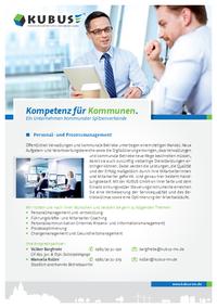 """Das Bild zeigt das Produktblatt """"Personal- und Prozessmanagement"""" mit allen Leistungen der KUBUS - auf einen Blick."""