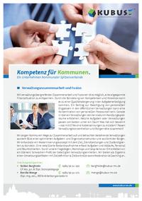 """Das Bild zeigt das Produktblatt """"Verwaltungszusammenarbeit und Fusion""""."""