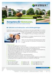 """Das Bild zeigt das Produktblatt """"Kalkulation von Straßenausbaubeiträgen, Erschließungsbeiträgen und Anschlussbeiträgen""""."""