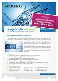 """Das Bild zeigt das Produktblatt """"Energieausschreibung"""" mit allen informationen zur Beschaffung von Strom und Erdgas auf einer Seite."""