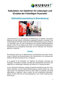Flyer zum Workshop zur Kalkulation von Feuerwehrgebühren im Bundesland Brandenburg.