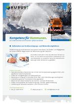 """Das Bild zeigt das Produktblatt """"Kalkulation von Gebühren für Straßenreinigung und Winterdienst"""" mit Ansprechpartnern des Büros München."""