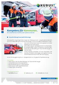 """Das Bild zeigt das Produktblatt """"Ausschreibung von Feuerwehrfahrzeugen"""" mit allen Leistungen und Ansprechpartnern der KUBUS."""