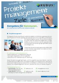 """Das Bild zeigt das Produktblatt """"Projektmanagement"""" mit allen Leistungen der KUBUS - auf einen Blick!"""