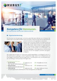 Das Bild zeigt das Produktblatt 'Organisationsberatung' mit allen Leistungen und Ansprechpartnern der KUBUS.