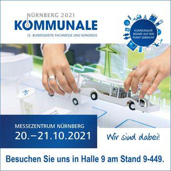 Sie sehen ein Werbebanner für die Messe KOMMUNALE 2021 vom 20.-21.10.2021 in Nürnberg.