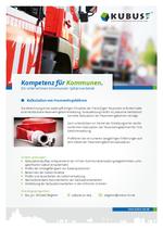 """Das Bild zeigt das Produktblatt """"Feuerwehrgebühren"""" mit den Ansprechpartnern im Büro Bayern."""