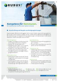 """Das Bild zeigt das Produktblatt """"Ausschreibung von Reinigungsdienstleistungen"""" mit allen Leistungen und Ansprechpartner der KUBUS."""