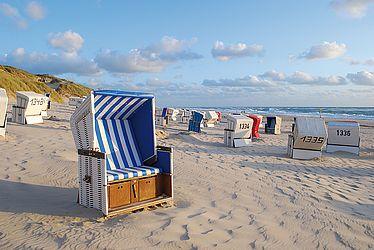 Das Bild zeigt den Strand eines Kurorts mit viel Fremdenverkehr.