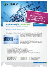 """Dieses Bild zeigt das Produktblatt """" Strom- und Erdgasausschreibungen"""" mit allen Leistungen und Ansprechpartnern der KUBUS."""