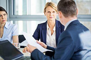 Das Bild zeigt Organisationsberater, die Kunden in einer Besprechung das Projektmanagement bei einer Organisationsuntersuchung erläutern.